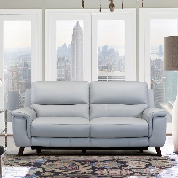 Modern Yosef Leather Reclining Sofa by Red Barrel Studio by Red Barrel Studio