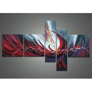 Fiery Abstract 5 Piece Painting on Canvas Set