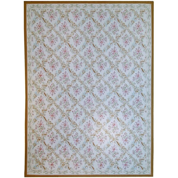 Aubusson Hand Woven Wool Ivory Area Rug by Pasargad