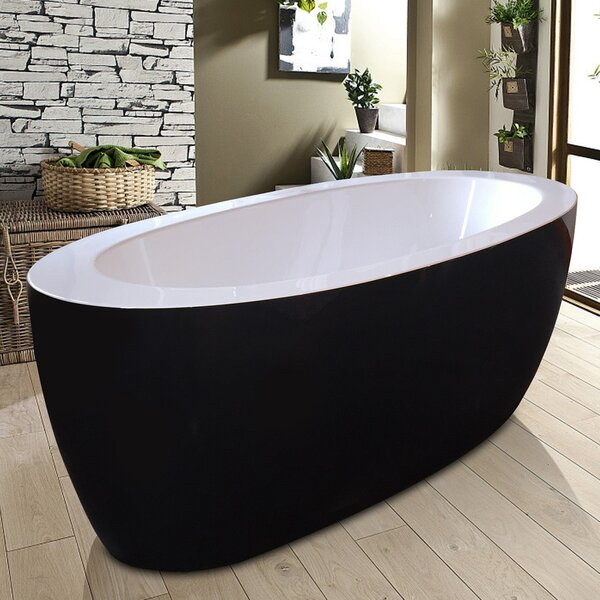 Purescape 68.7 x 32.75 Freestanding Soaking Bathtub by Aquatica