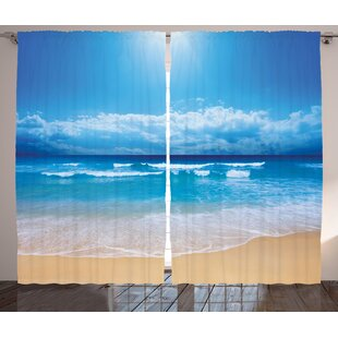 Coney Beach Seascape Theme Landscape Of The And Cloudy Sky In Summer Digital Print Graphic Text Semi Sheer Rod Pocket Curtain Panels Set