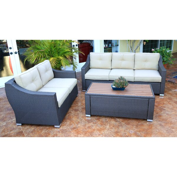 Hasan 3 Piece Rattan Sofa Seating Group with Cushions by Brayden Studio