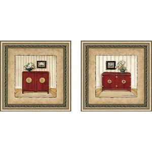 Oriental Charm II' 2 Piece Framed Acrylic Painting Print Set Under Glass by Ebern Designs