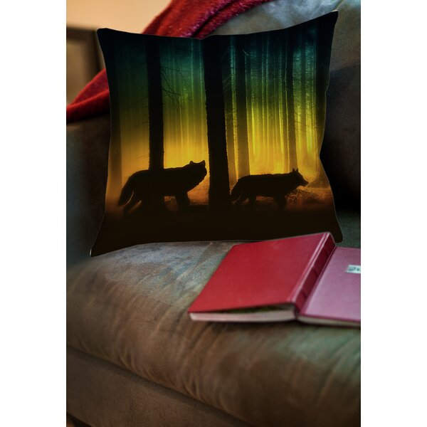 Tracking Wolves Printed Throw Pillow by Manual Woodworkers & Weavers