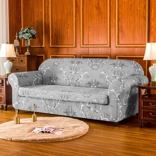 Flower Printed Stretch Box Cushion Sofa Slipcover By House Of Hampton