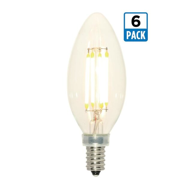 4W E12 Dimmable LED Edison Candle Light Bulb (Set of 6) by Westinghouse Lighting