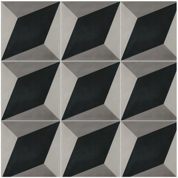 Large Cubes B 8 x 8 Cement Field Tile in Black/White by Villa Lagoon Tile