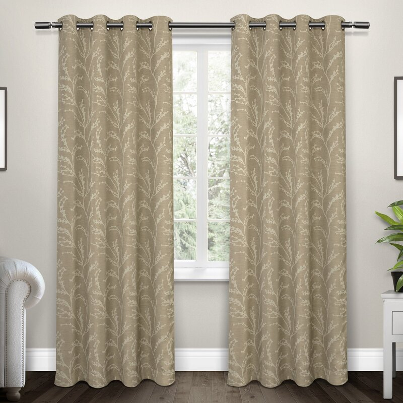 Baillons Nature/Floral Room Darkening Thermal Grommet Curtain Panels