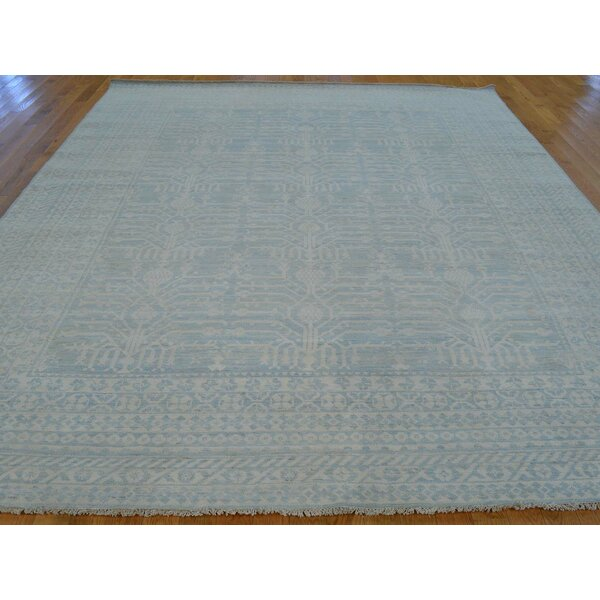 One-of-a-Kind Bellingham Washed Out Samark Hand-Knotted Blue Wool Area Rug by Isabelline