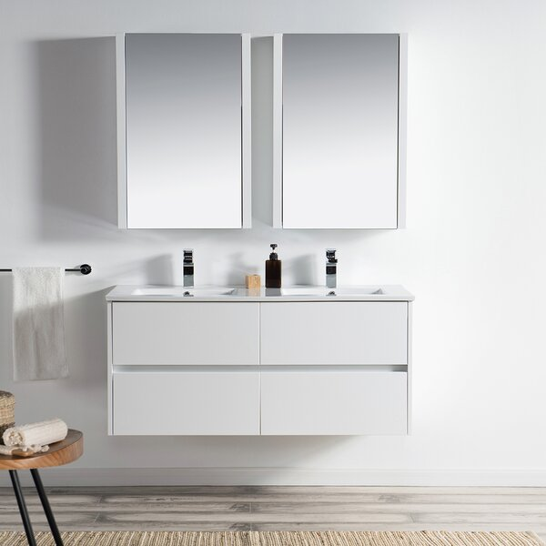Oquendo 48 Wall-Mounted Double Bathroom Vanity Set with Medicine Cabinet by Orren Ellis