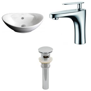 Reviews Ceramic Oval Vessel Bathroom Sink with Faucet and Overflow ByAmerican Imaginations