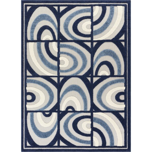 Dorado Lucente Modern Abstract Shapes High-Low Blue Indoor/Outdoor Area Rug by Well Woven