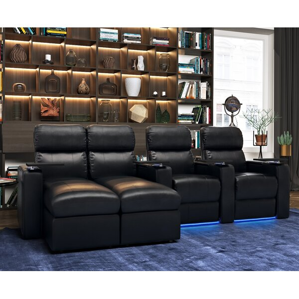 Modern Leather Home Theater Sofa (Row of 4) by Red Barrel Studio