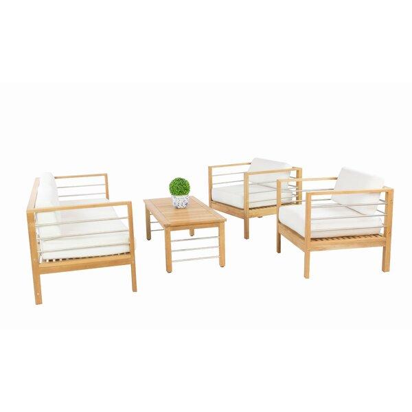 Soho Teak 4 Piece Sofa Set With Cushions by HiTeak Furniture
