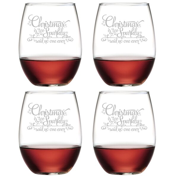 Too Sparkly Glass 21 oz. All Purpose Stemless Wine Glass (Set of 4) by The Holiday Aisle