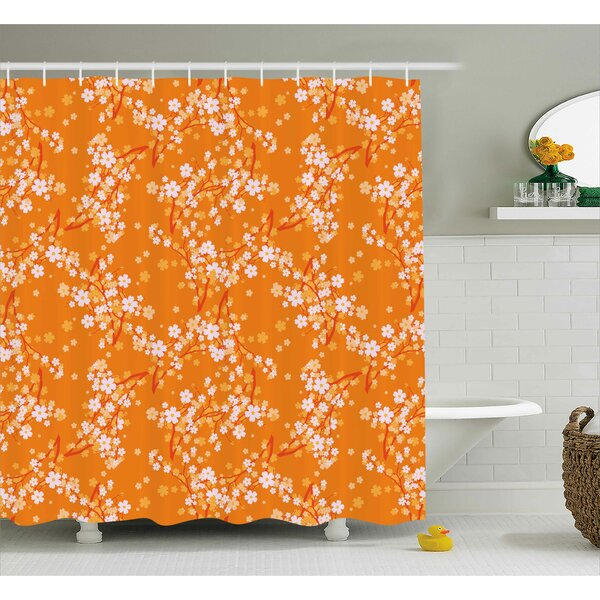 Bertie Vivid Blooming Tree Branches Spring Flower Petals Happy Essence Beauty Pattern Shower Curtain by Ebern Designs