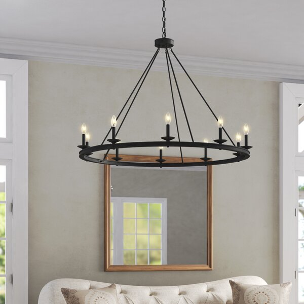 Poynor 10 - Light Candle Style Wagon Wheel Chandelier By Three Posts