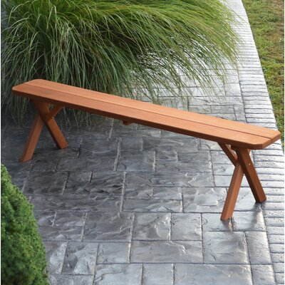 "Kennicott Crossleg Wooden Picnic Bench Size: 17"" H x 44"" W x 11"" D, Color: Natural Stain"