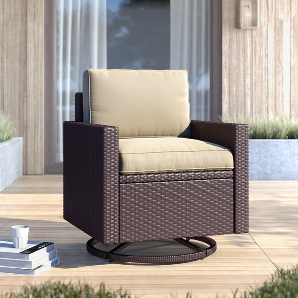 Belton Swivel Patio Chair with Cushion by Mercury Row