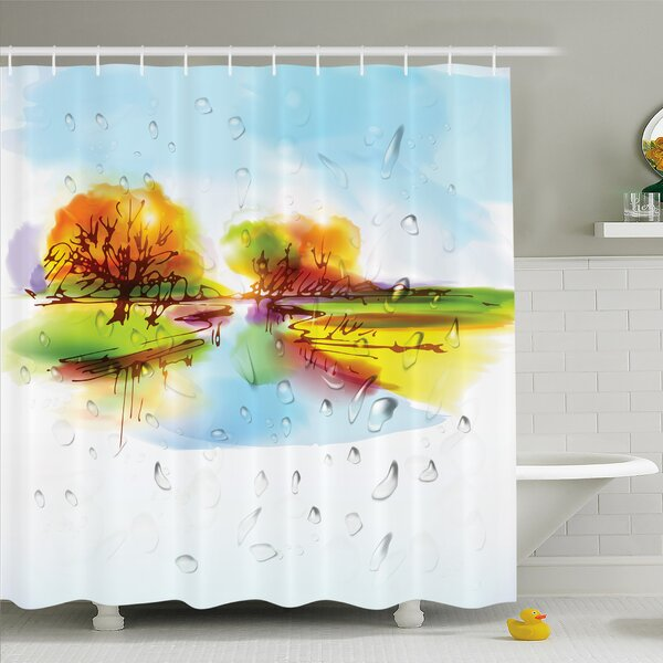 Home Vibrant Fall Landscape in Pastoral Nature with Reflections Meadow Field Rural Scene Shower Curtain Set by Ambesonne