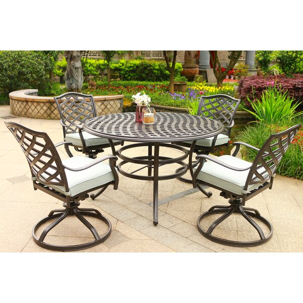 Dalessio Outdoor 5 Piece  Dining Set with Cushions