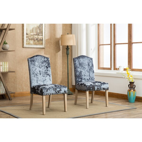 Wokefield Velvet Caen Nail Head Urban Ice Fabric Padded Parson Upholstered Dining Chair (Set of 2) by House of Hampton House of Hampton®