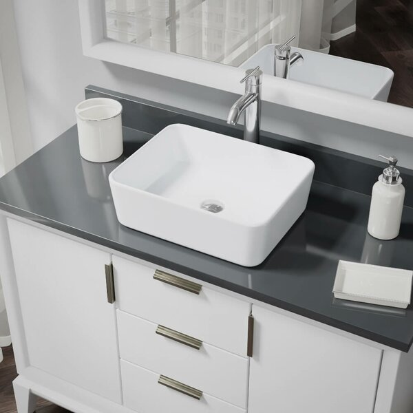 Vitreous China Rectangular Vessel Bathroom Sink with Faucet and Overflow by René By Elkay