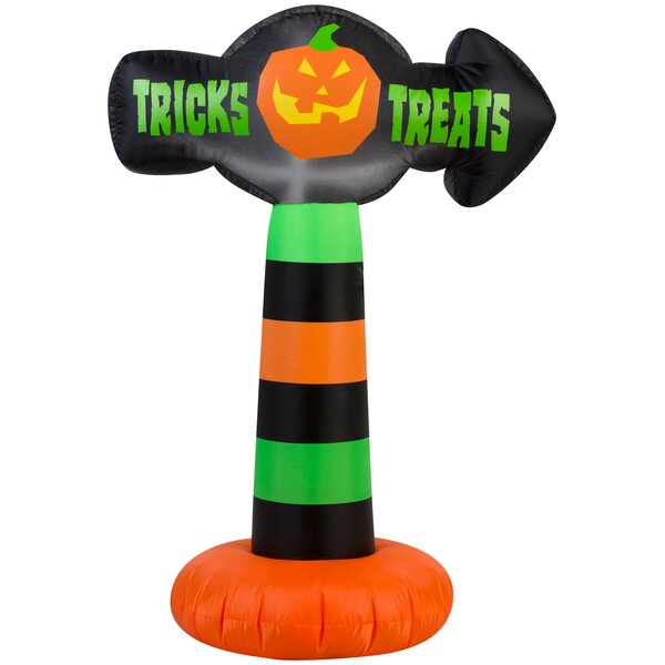 Outdoor Sign Tricks and Treats SM Inflatable by The Holiday Aisle