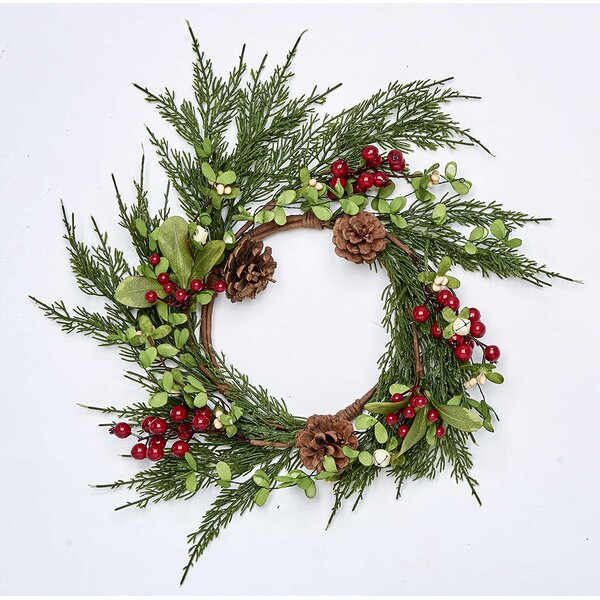 6.5 Pine Berry and Leaf Wreath by Union Rustic