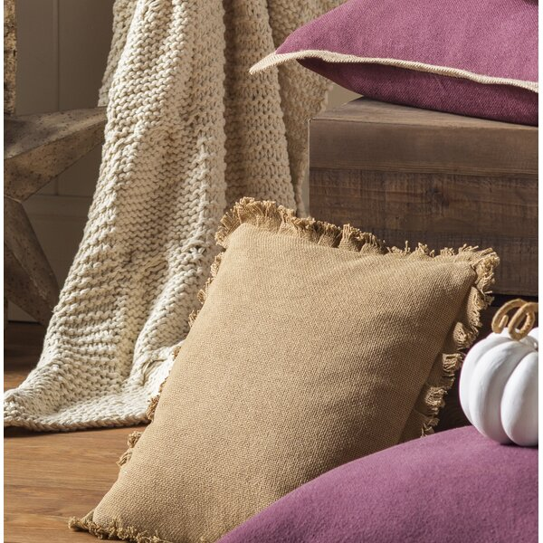 Burlap Natural Fringed Cotton Throw Pillow by August Grove