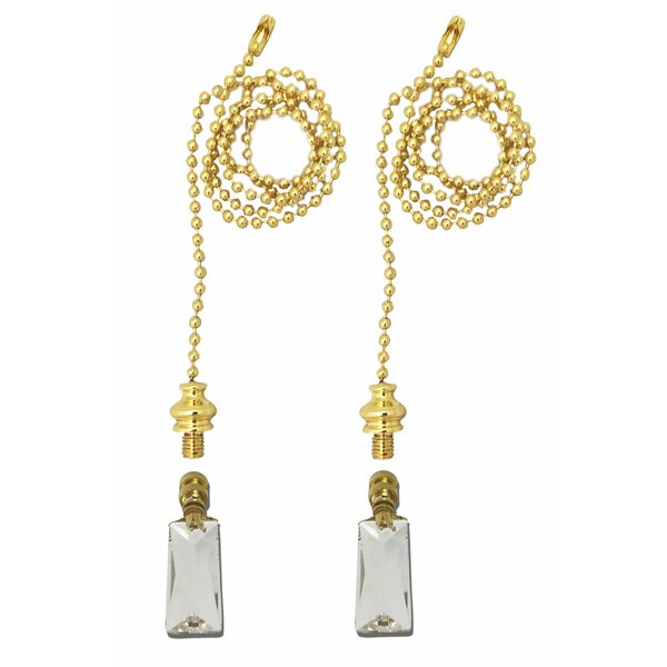 Fan Pull Chain with Tall Rectangle Crystal Finial (Set of 2) by Royal Designs