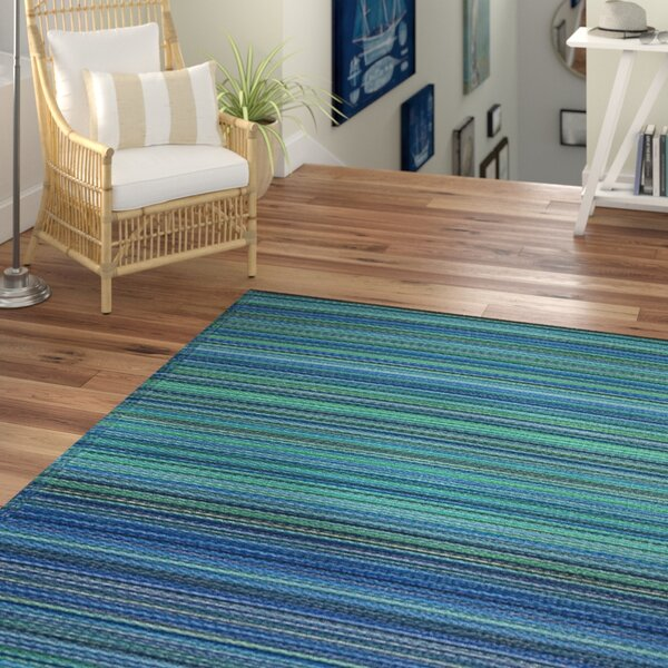Marianne Turquoise/Moss Green Stripe Indoor/Outdoor Area Rug by Beachcrest Home