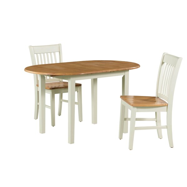 Shippy 3 Piece Extendable Solid Wood Dining Set by August Grove