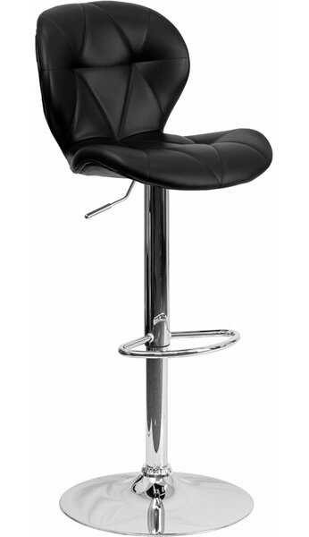 Outen Tufted Adjustable Height Swivel Bar Stool by Wrought Studio