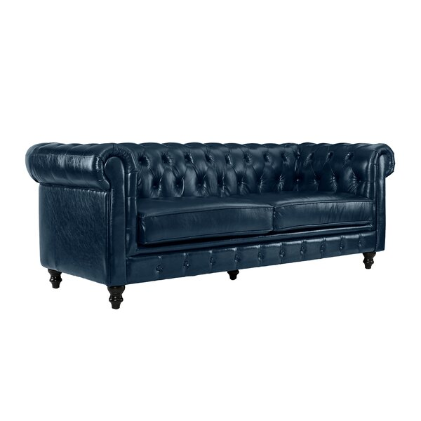 Krehbiel Italian Leather Chesterfield Sofa by Alcott Hill