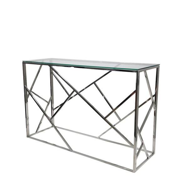 Stainless Steel And Glass Console Table By Orren Ellis