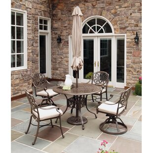 Daniella 5 Piece Dining Set with Umbrella By One Allium Way