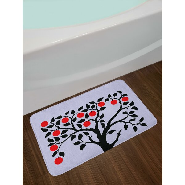 Black Tree with Ripe Red Nutritious Fruit Flourishing Nature Garden Forest Art Bath Rug by East Urban Home