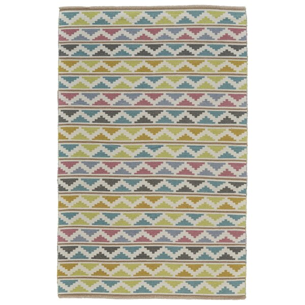 Evins Hand-Woven Wool Lime/Turquoise Area Rug by Ebern Designs