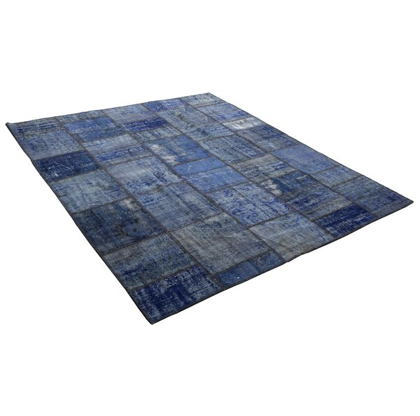 Kayla Patchwork Hand-Knotted Wool Blue Area Rug by Bloomsbury Market