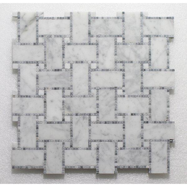 B.View Micro Carrara P. Wall 12 x 12 Natural Stone Mosaic Tile in White/Blue by Seven Seas