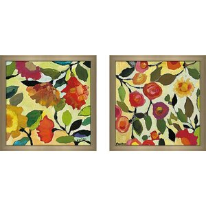 'Floral Tile I' 2 Piece Framed Painting Print Set Under Glass by Zipcode Design