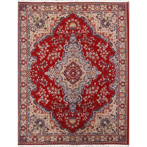 Traditional Mahal Classical Persian Bedroom Burgundy/Beige Area Rug by Isabelline
