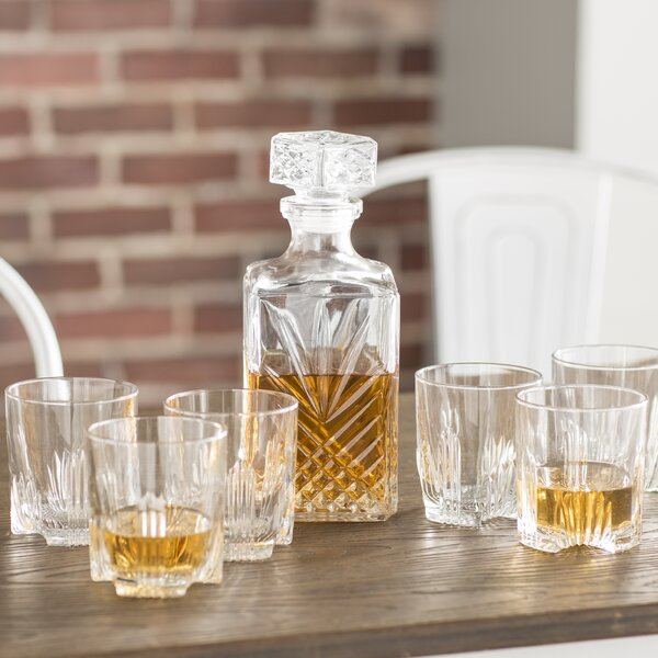 Adira 7 Piece Whiskey Tumbler and Decanter Set by Trent Austin Design
