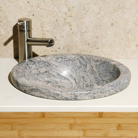 Meridian Stone Circular Drop-In Bathroom Sink by Allstone Group