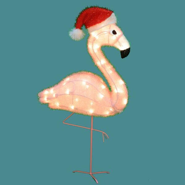 Pre-Lit Flamingo with Santa Claus Hat Lighted Display by The Holiday Aisle