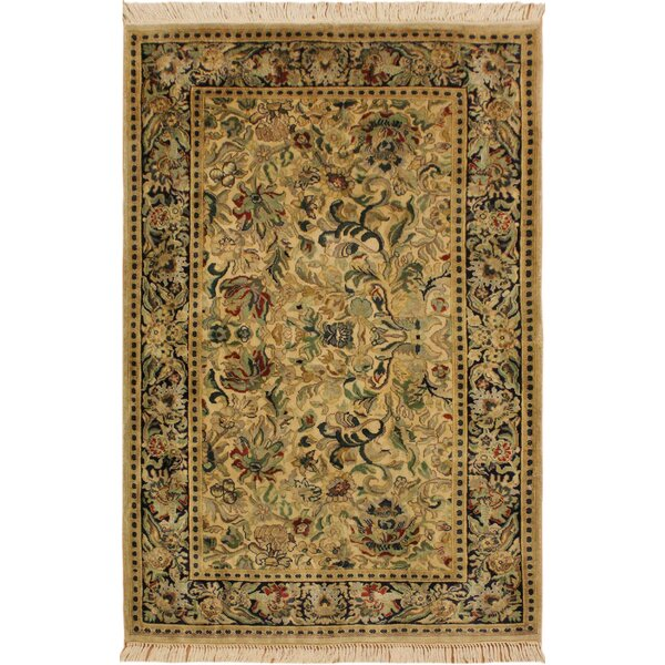 One-of-a-Kind Aaru Hand-Knotted Wool Light Ivory Area Rug by Isabelline