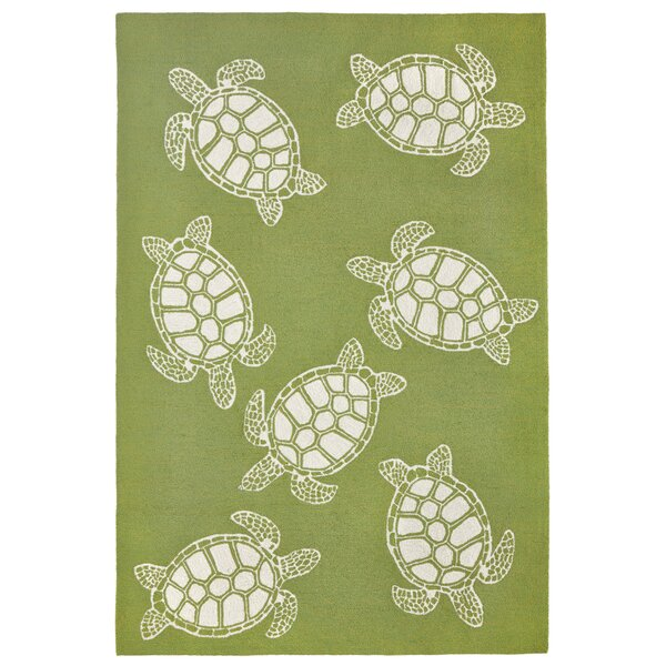 Claycomb Turtle Hand-Tufted Green Indoor/Outdoor Area Rug by Highland Dunes