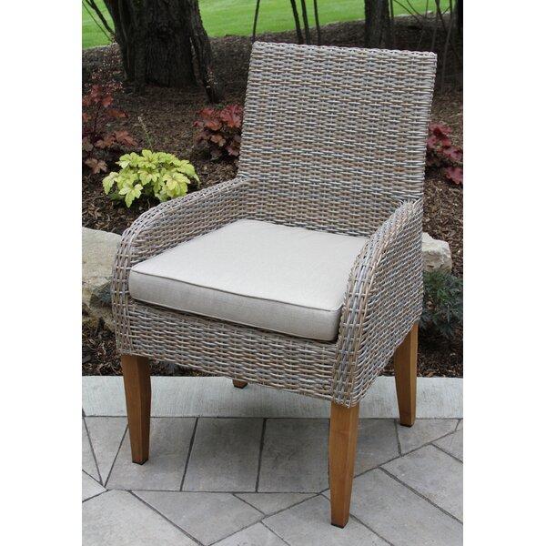 Caelan Teak Arm Chair with Cushion (Set of 2) by Beachcrest Home Beachcrest Home