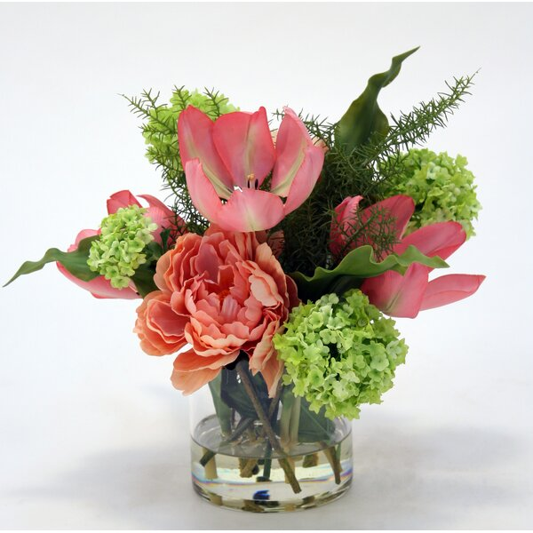 Tulips, Peony and Snowball Floral Arrangement in Glass Vase by Rosdorf Park